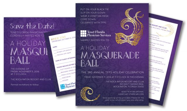 Invitation Package for Holiday Masquerade Ball - TFPS 3rd annual Gala