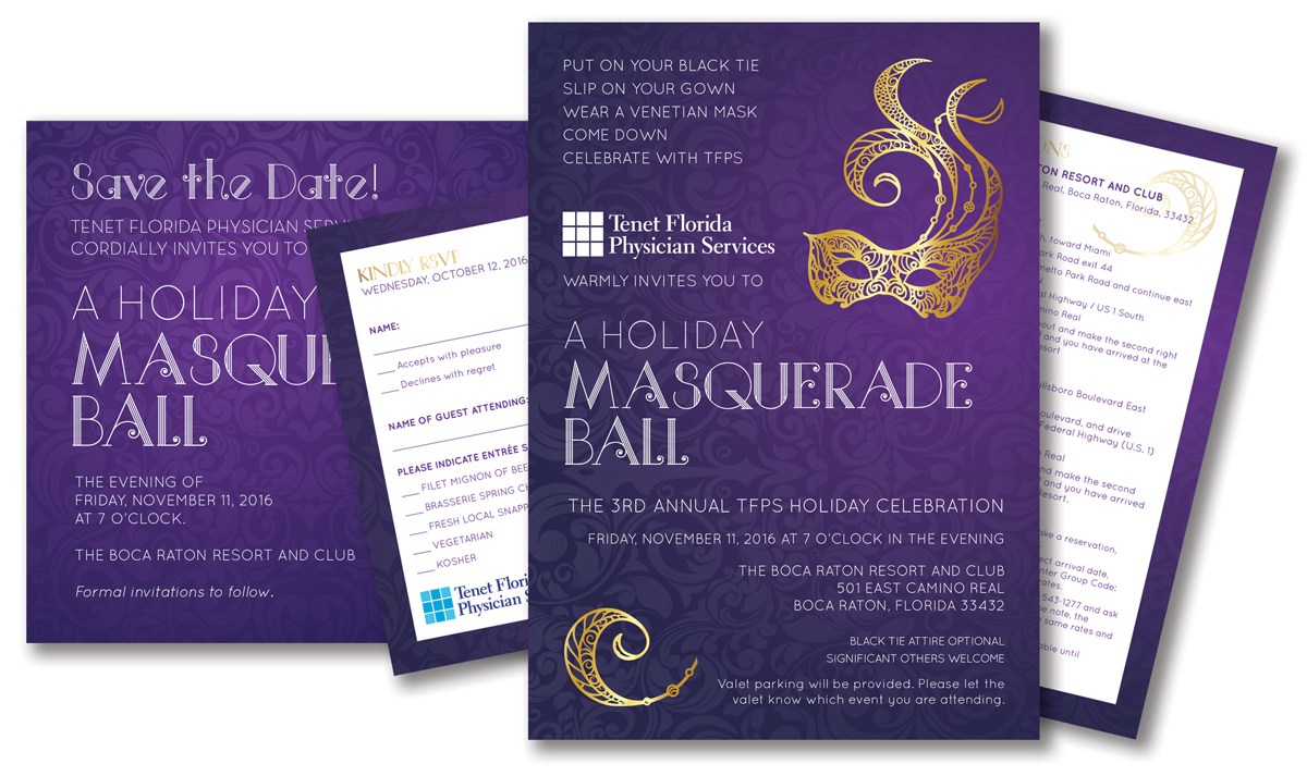 Bronze Award – Invitation Package for Holiday Masquerade Ball - TFPS 3rd annual Gala