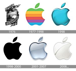 The progression of Apple's logo from mulit color, to some color, to no color.