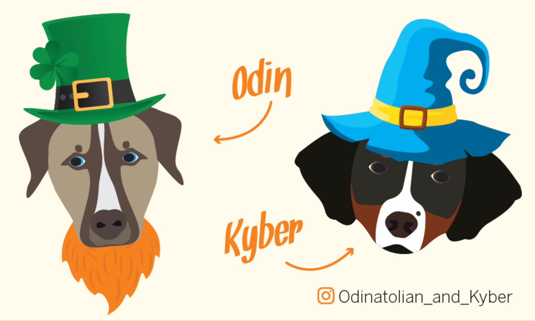 Illustration of Office Dogs Odin and Kyber in Halloween Costumes, talking about Halloween Safety.