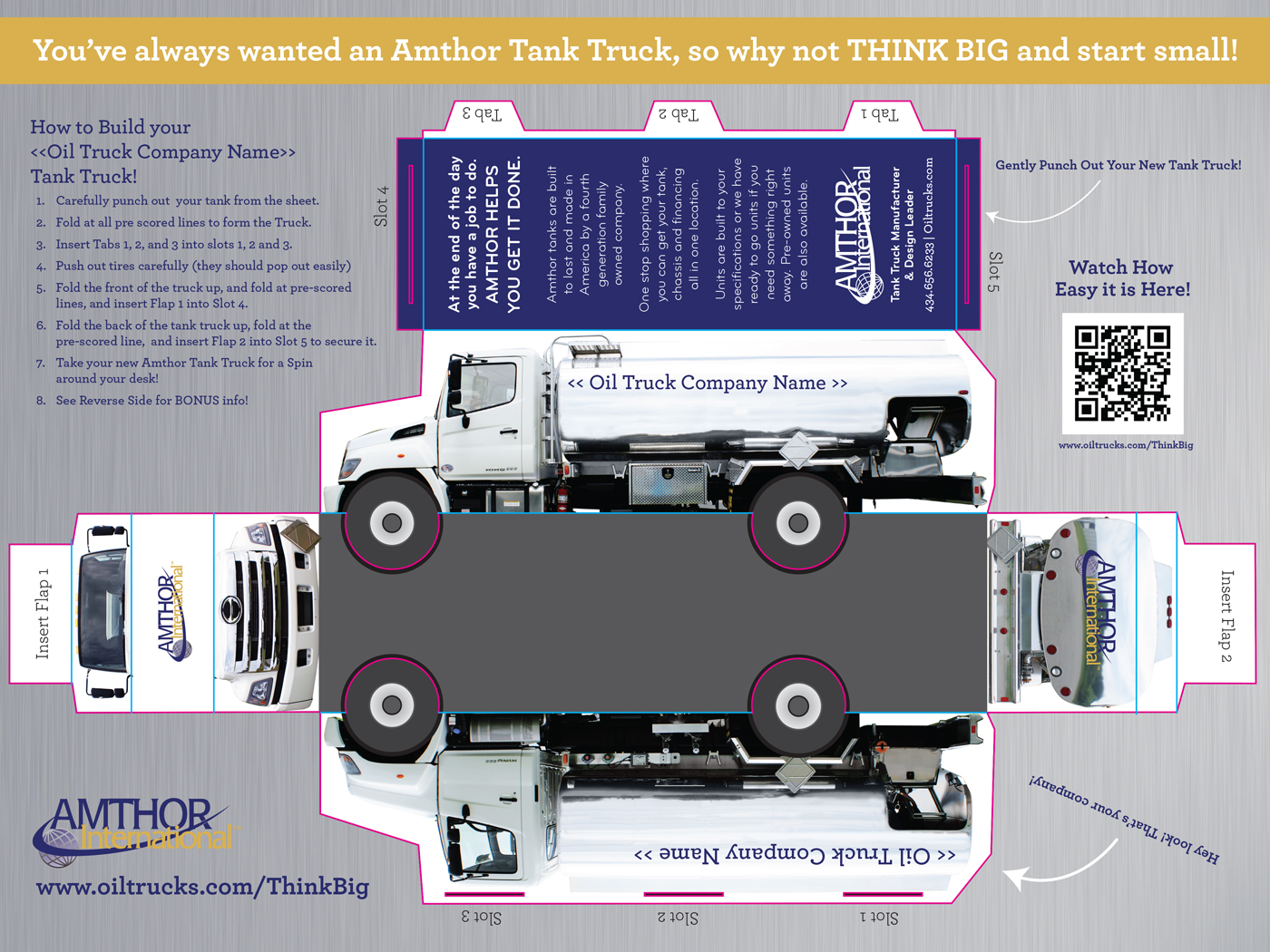Direct Mailer of die cut brochure. Tanker truck can be popped out and assembled into a three dimensional truck.