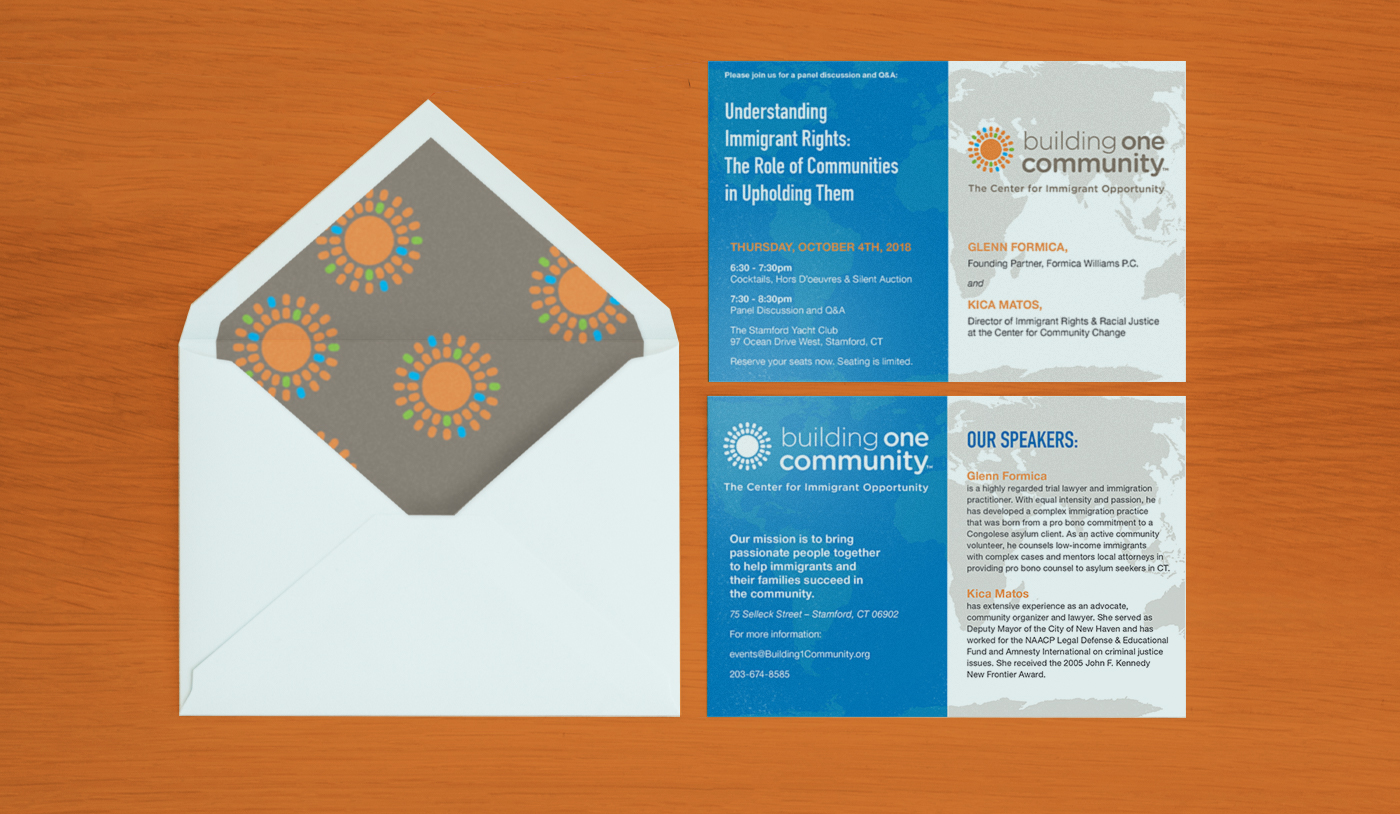 Building One Community Seminar Invitation and Envelope Mockup