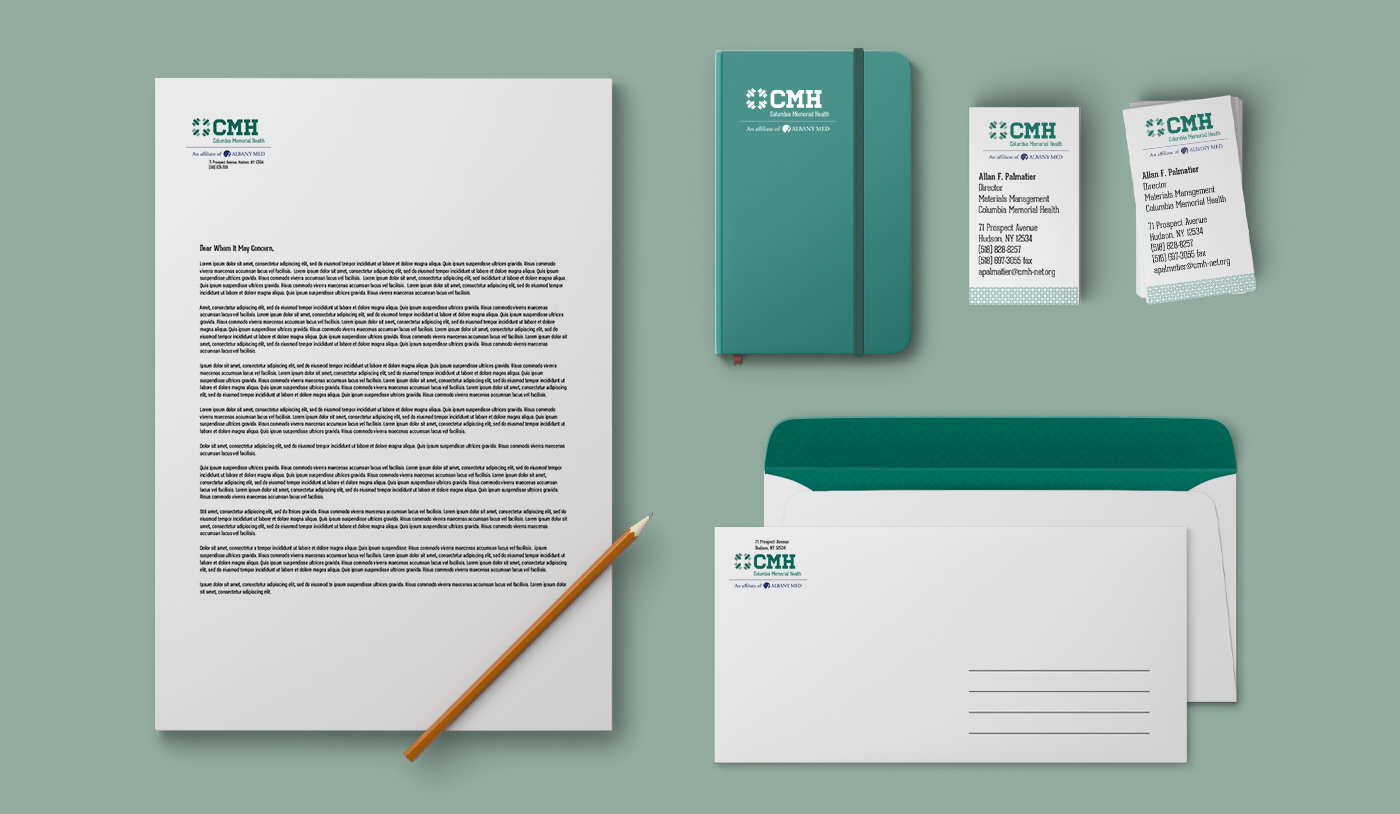 Columbia Memorial Health brand standards mockups