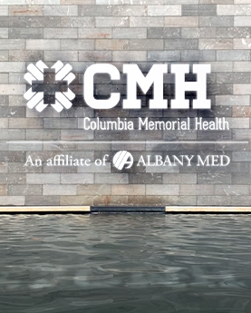 Columbia Memorial Health marketing material rebranding to update marketing materials to reflect its affiliaiton with Albany Med
