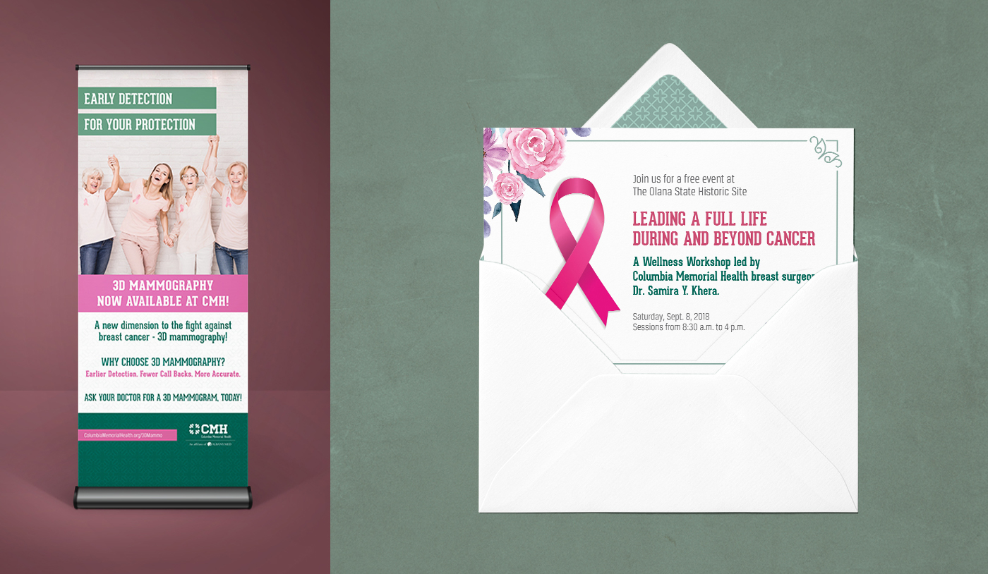 Columbia Memorial Health Pull up banner and Invitation Mockup