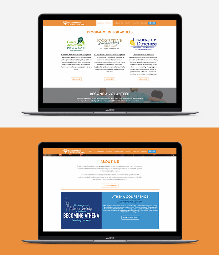 Chamber Foundation Website laptop Mockup