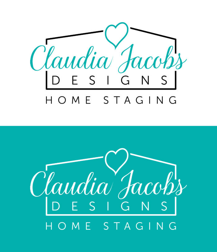 Claudia Jacobs Designs color logo and white logo