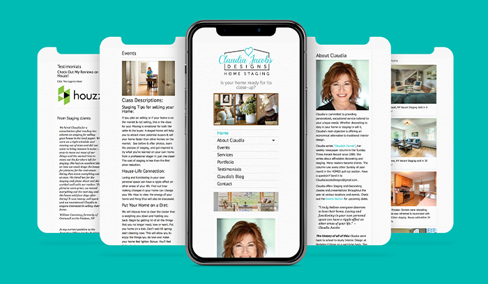 Claudia Jacobs Designs Mobile website mockup