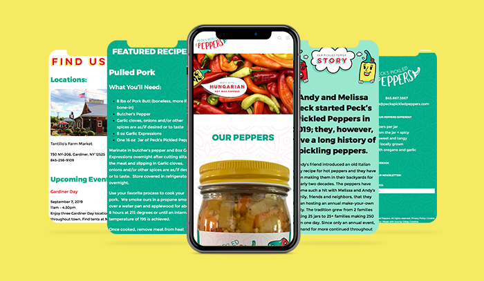 Peck's Pickled Peppers Mobile Website Mockup