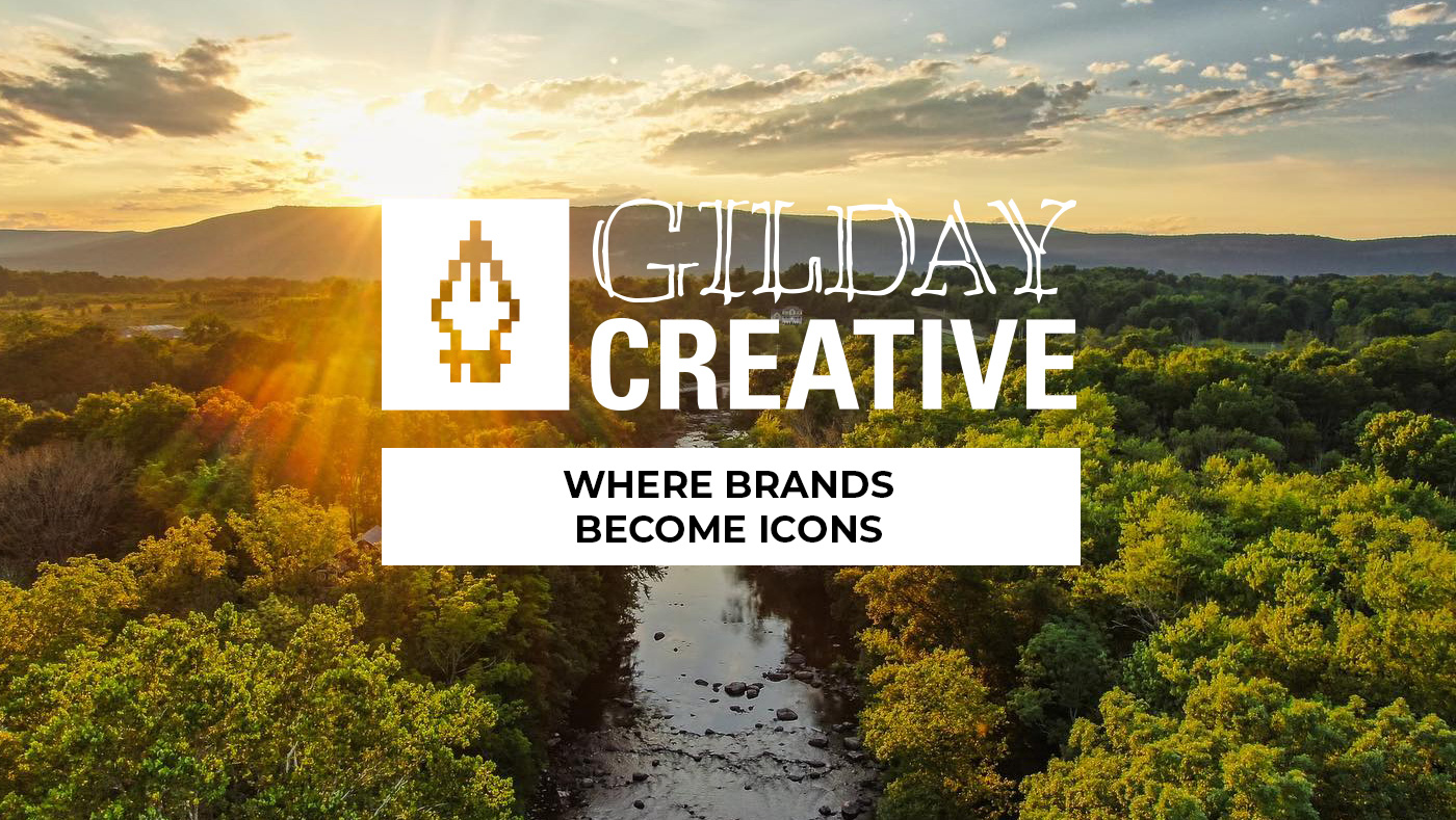 Gilday Creative Logo with Hudson Valley Drove shot of a stream and green mountains.