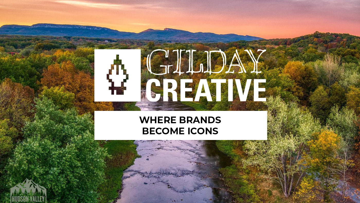 Gilday Creative Logo with Hudson Valley Drone image of the Hudson Valley with a river