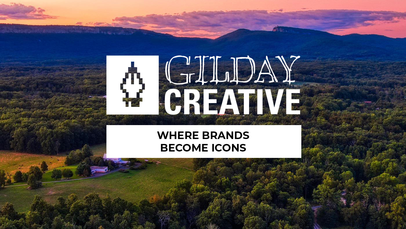 Gilday Creative Logo with Hudson Valley Drone photo of a farm at sunset