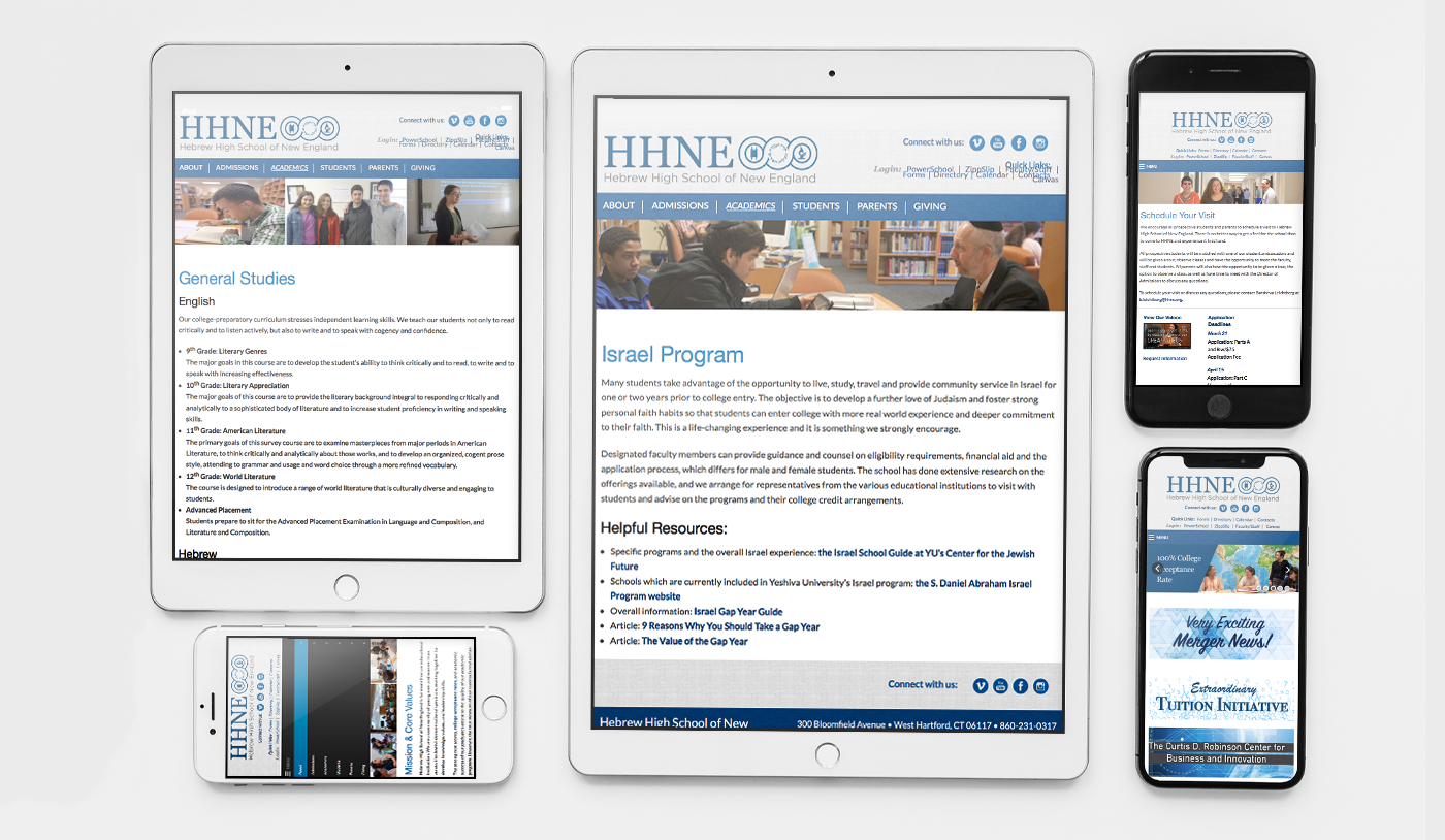 Hebrew High School of New England Mobile Website mockups