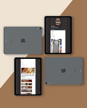 Hickory BBQ Ipad website mockup with responsive website design