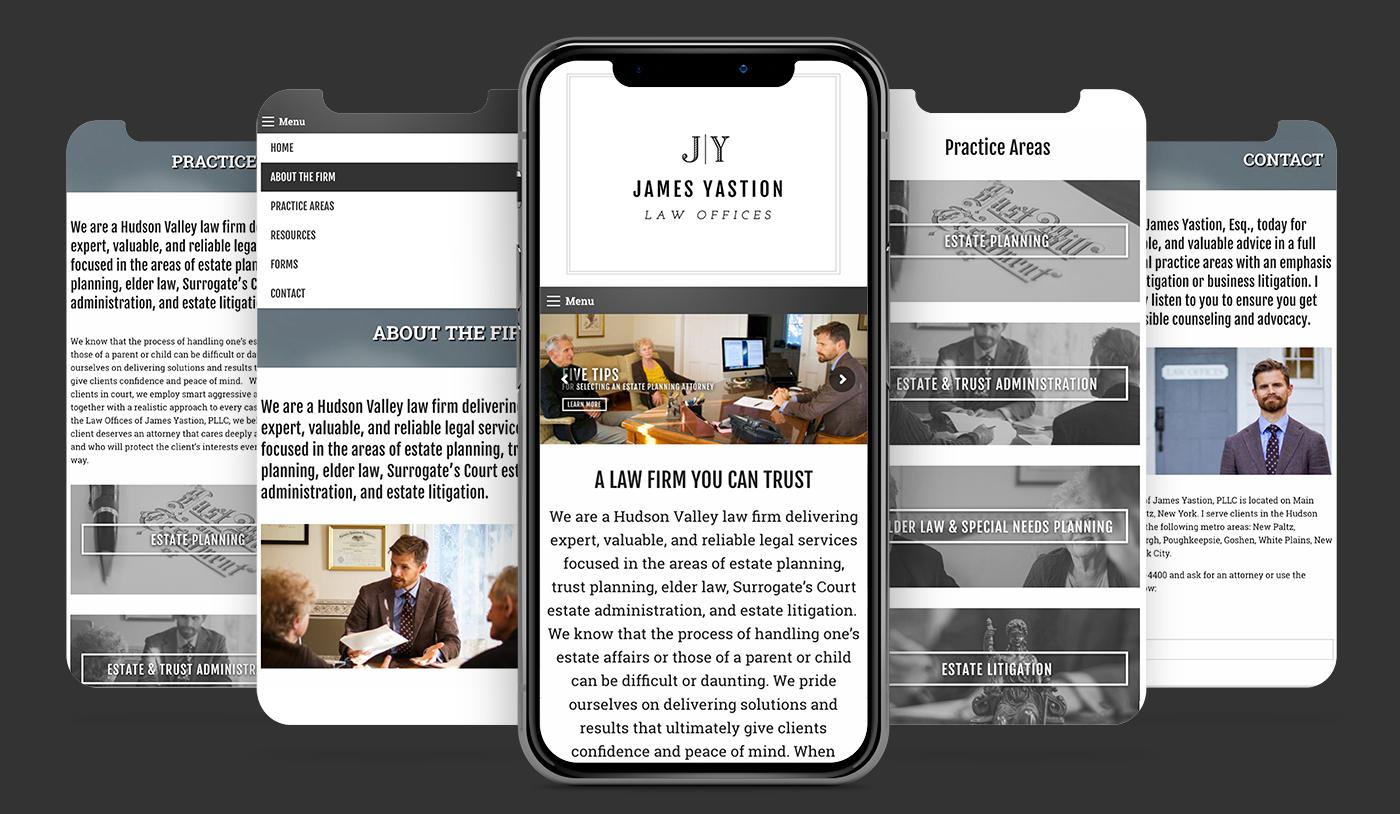 James Yastion Law Office mobile website mockup