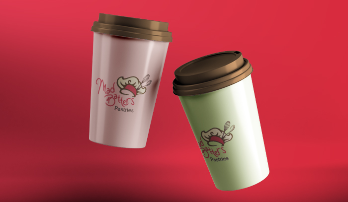 Mad Batters logo on coffee cups mockup