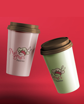 Mad Batters logo on coffee cups mockup as part of our design of a logo and food packaging label