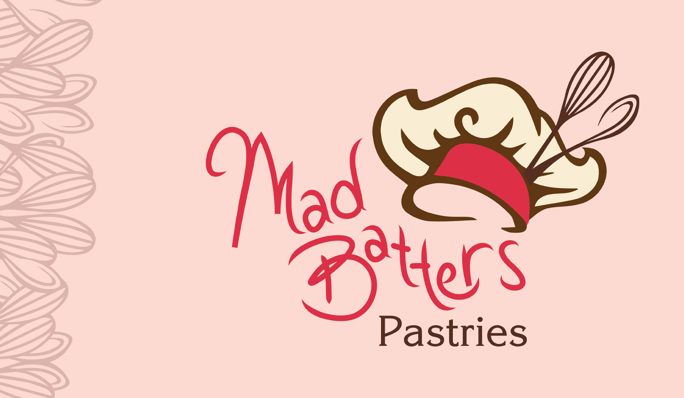 Mad batters logo on a pink background with spoons and whisks on the left side