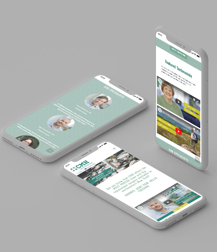 Columbia Memorial Health mobile micro website motion mockups