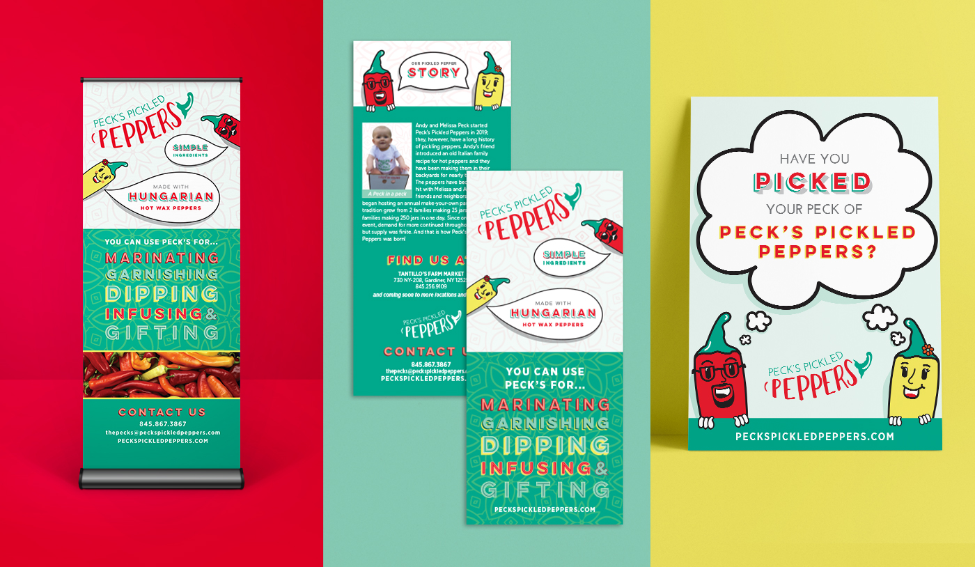 Peck's Pickled Pepper mockups of the pull up banner, rack card and a poster design