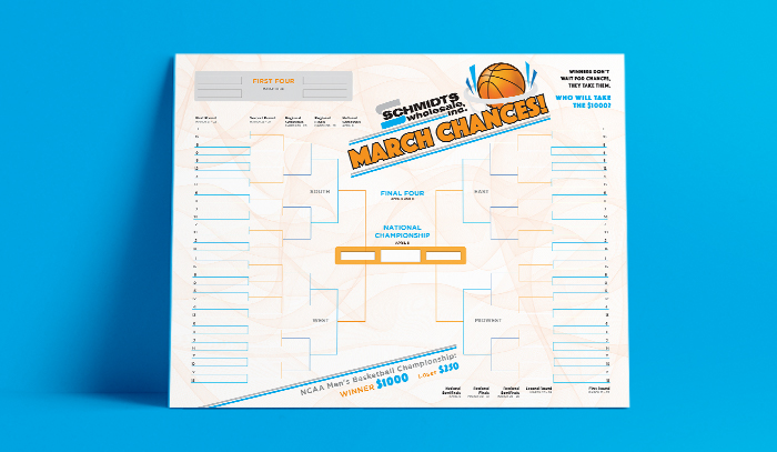 Schmidts Wholesale March Madness score board
