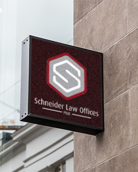 Attorney Branding for Schneider Law Offices: logo sign mockup