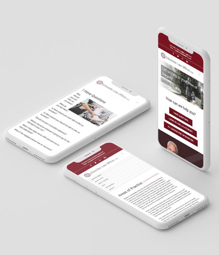 Schneider Law Offices mobile website Mockup
