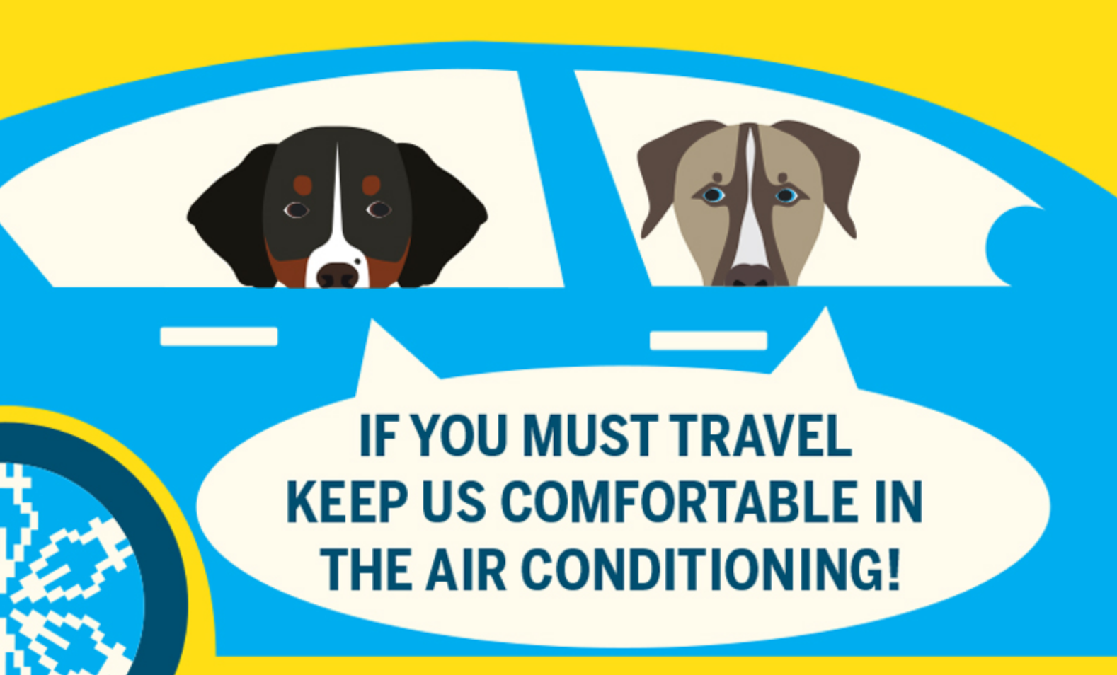 "Summer pet safety infographic that says ""if you must travel keep us comfortabe in Air Conditioning."