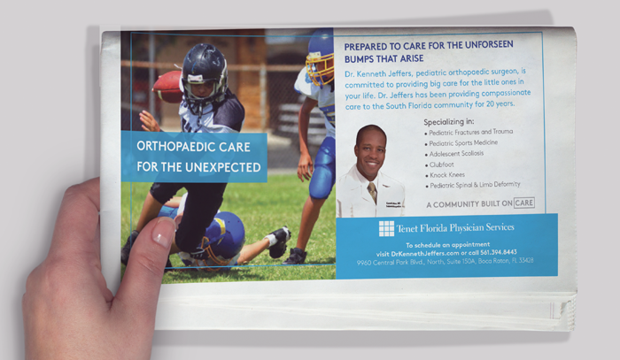example of e tenet Florida physician orthopedist ad in a newspaper