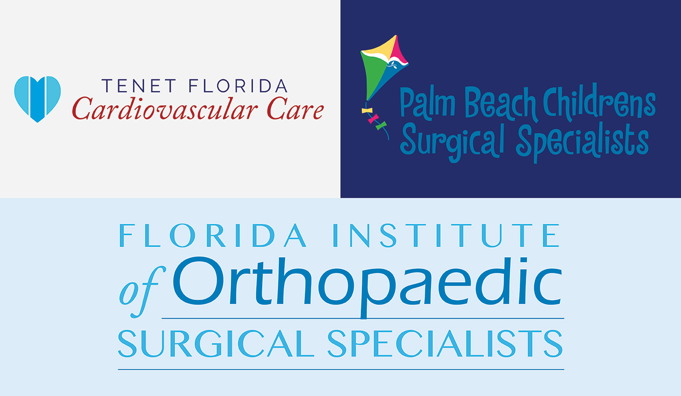 Tenet Sub branding logos, Tenet Florida Cardiovascular care, Palm Beach Childrens Surgical Specialists, and Florida Institute of Orthopaedic Surgical Specialists