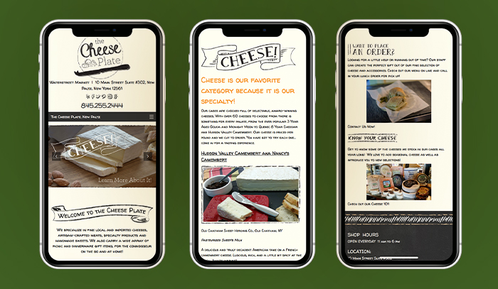 The Cheese Plate Mobile Website Mockup
