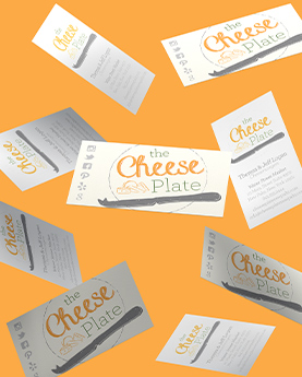 New logo design for business cards as part of Cheese Plate's new branding