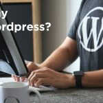 "Person at computer with the wordpress logo on their shirt. Overlay says ""Why Wordpress?"""