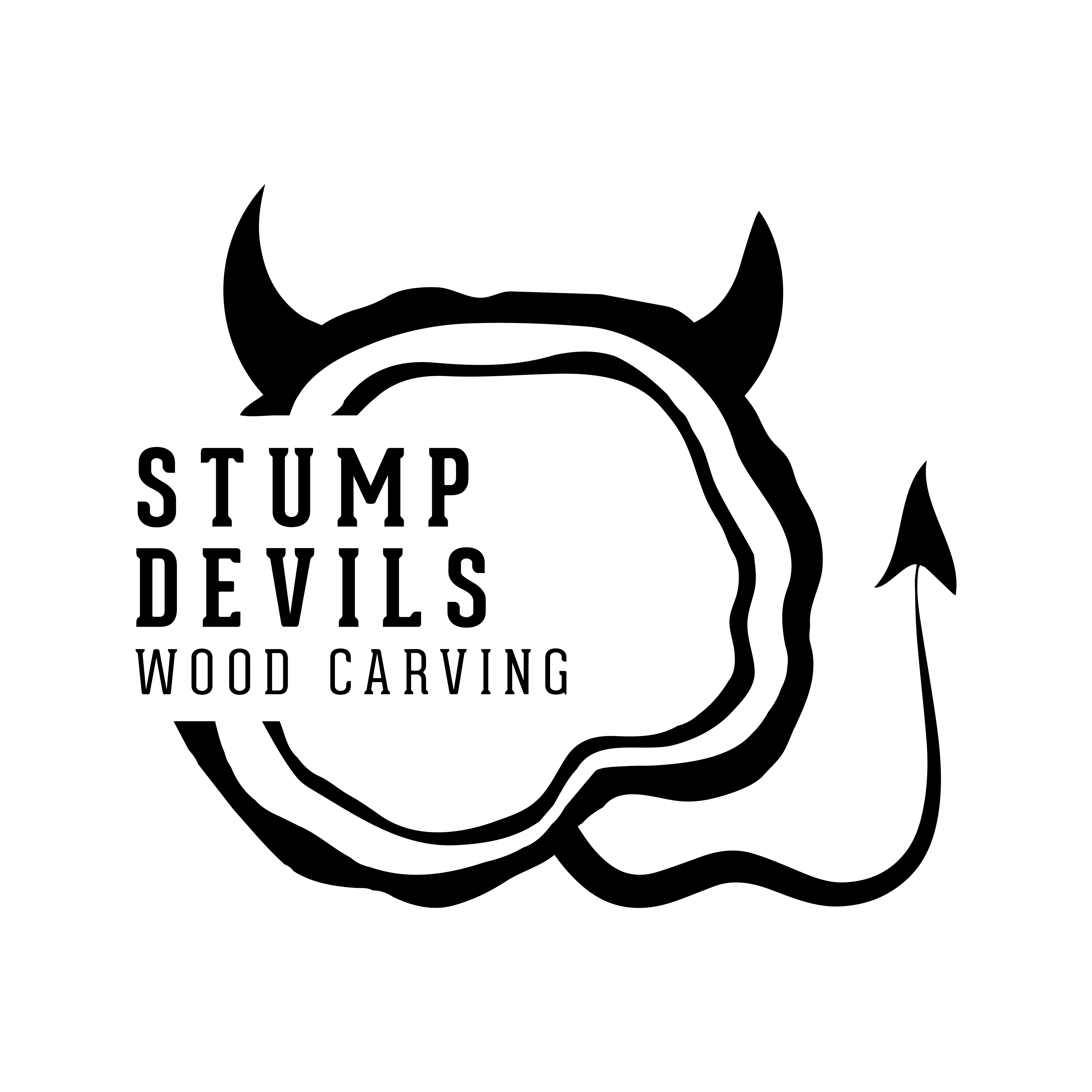 Stump Devil Wood Carving Logo