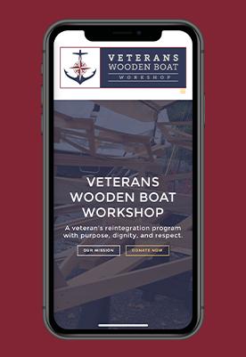 Veteran Wooden Boat Workshop Website Homepage on a mobile device