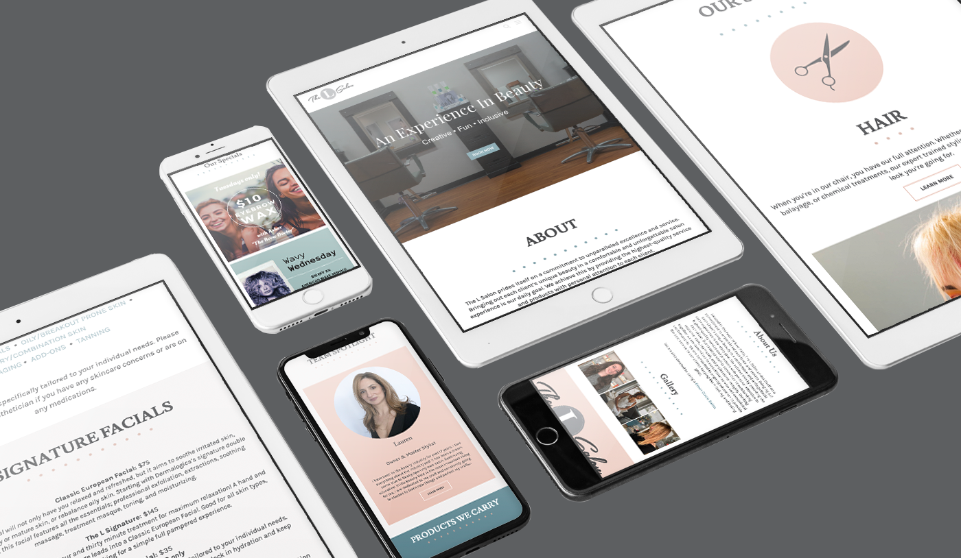 The L Salon website mockup in ipad's and iphone's