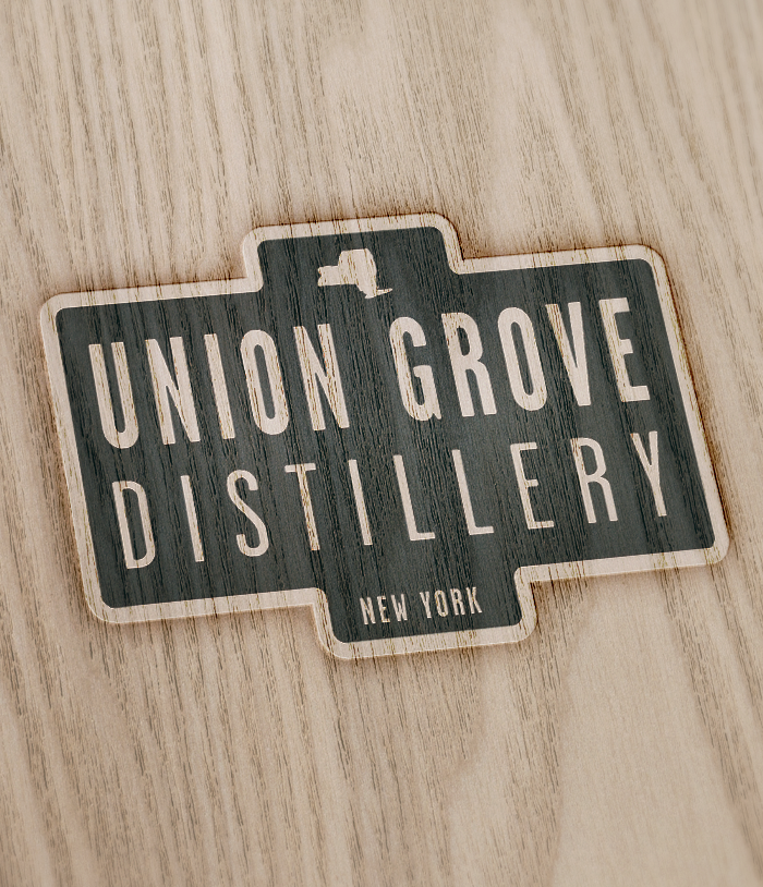 Union Grove Distillery logo burned into wood