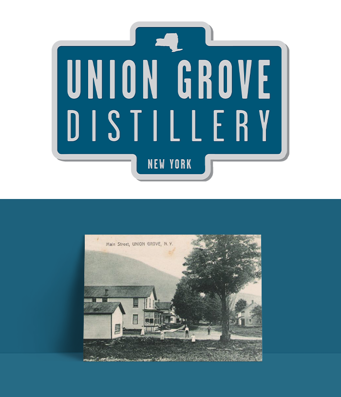Union Grove Distillery logo on top and on the bottom a postcard
